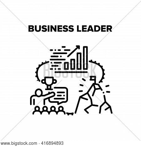 Business Leader Vector Icon Concept. Business Leader With Team Employees Planning Strategy And Reach