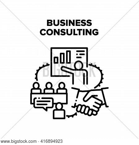Business Consulting Advise Vector Icon Concept. Business Consulting Advise And Businessman Presentat
