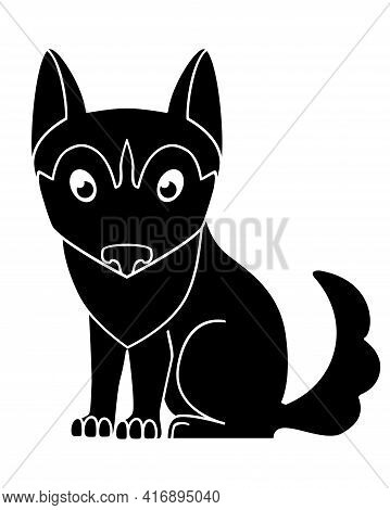 Dog Silhouette. Cute Husky Puppy - Black Silhouette For Logo Or Pictogram. Sitting Malamute Puppy -