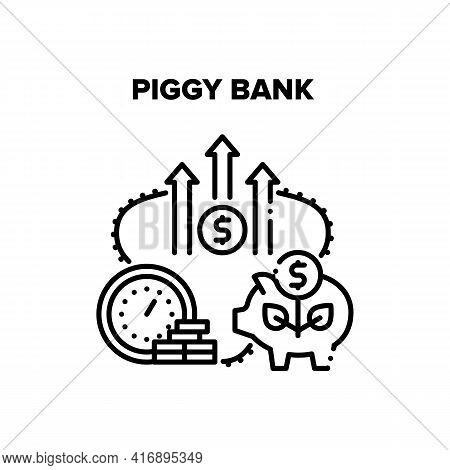 Piggy Bank Cash Vector Icon Concept. Piggy Bank For Save Money Or Bank Deposit. Saving Or Investment