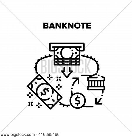 Banknote Money Vector Icon Concept. Banknote Money Getting From Atm, Bank Financial Building For Dol