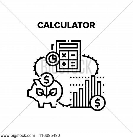 Calculator Tool Vector Icon Concept. Calculator Electronic Device For Counting Profit And Analyzing