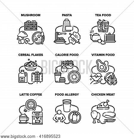 Food Collection Set Icons Vector Illustrations. Food Calorie And Vitamin, Tea And Latte Coffee Hot E