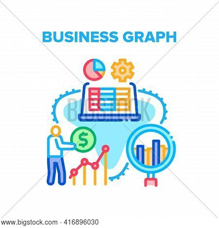Business Graph Vector Icon Concept. Businessman Researching Trading Market Business Graph And Earnin