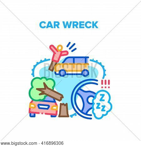Car Wreck Crash Vector Icon Concept. Car Wreck And Knocking Down Pedestrian, Broken Tree Damaging Ve