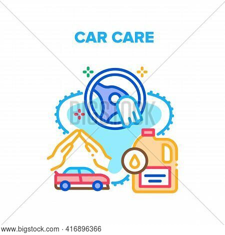 Car Care Service Vector Icon Concept. Filling Oil In Vehicle Engine And Cleaning Wheel In Car Care S