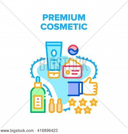 Premium Cosmetic Vector Icon Concept. Cream And Lotion, Essential Oil And Moisturizing Aromatic Natu