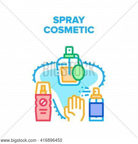 Spray Cosmetic Vector Icon Concept. Aromatic Perfume Sprayer Bottle, Sunscreen Aerosol And Sanitizer
