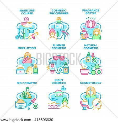 Cosmetic Procedures Set Icons Vector Illustrations. Manicure Course And Cosmetology Occupation In Be