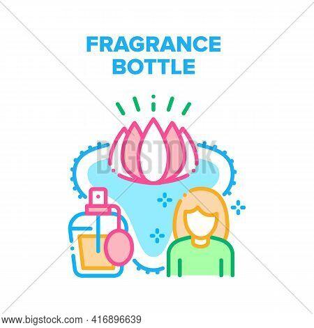Fragrance Bottle Vector Icon Concept. Fragrance Bottle Sprayer For Luxury Smell With Flower Lotus Ar
