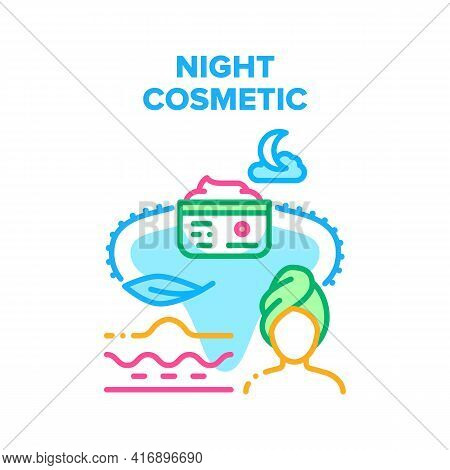 Night Cosmetic Vector Icon Concept. Night Cosmetic For Moisture Skin And Face Or Body Beauty Treatme