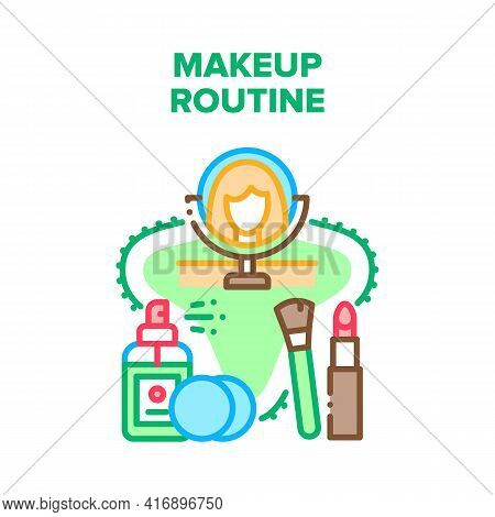 Makeup Routine Vector Icon Concept. Woman Look In Mirror And Making Skincare Makeup Routine With Cos