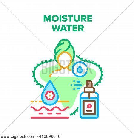Moisture Water Vector Icon Concept. Micellar Moisture Water For Moisturizing Skin After Shower, Liqu