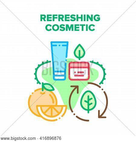Refreshing Cosmetic Cream Vector Icon Concept. Refreshing Cosmetic Cream Prepared From Citrus Fruit