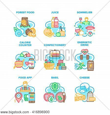 Food Application Set Icons Vector Illustrations. Forest Food And Juice, Energetic Drink And Calorie