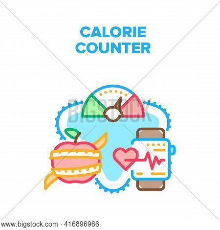 Calorie Counter Vector Icon Concept. Calorie Counter Application For Eating Healthy Dieting Food Pro