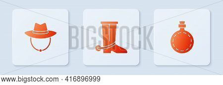 Set Cowboy Boot, Western Cowboy Hat And Canteen Water Bottle. White Square Button. Vector