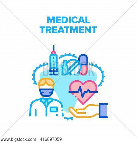 Medical Treatment Health Vector Icon Concept. Doctor Checking Heartbeat And Giving Prescription On P