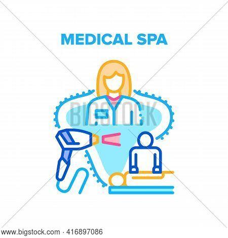 Medical Spa Vector Icon Concept. Patient Healthcare Massage Make Masseur And Laser Depilation Medica