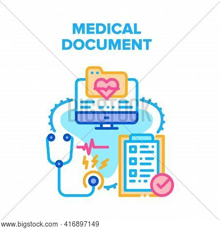 Medical Document Vector Icon Concept. Medical Document Insurance And Examination Checklist, Medicine