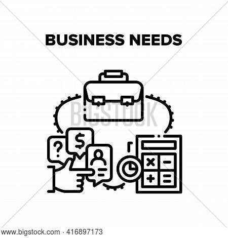 Business Needs Vector Icon Concept. Calculator Electronic Device For Counting And Case For Carrying