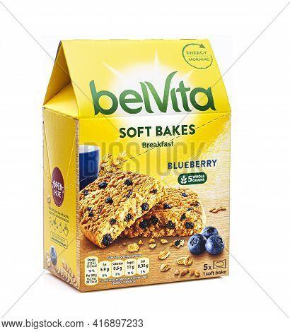 Swindon, Uk - April 14, 2021:  Box Of Five Belvita Blueberry Soft Bakes - Morning Energy