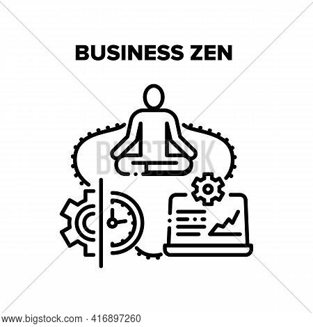 Business Zen Vector Icon Concept. Businessman Relaxing Meditating In Office, Peaceful Ceo In Suit Pr