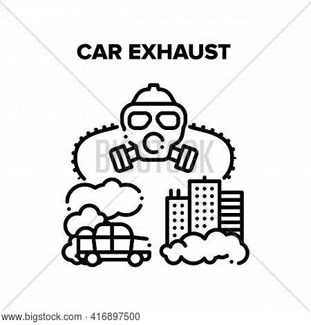 Car Exhaust Vector Icon Concept. Car Exhaust Smog And Urban Air Pollution. City Environment Ecology