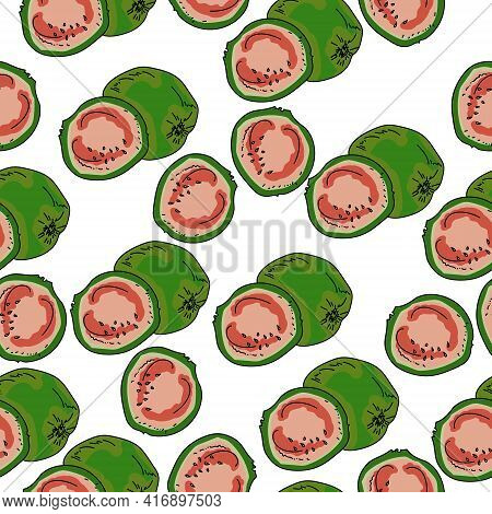 Guava Seamless Pattern, Juicy Fruit Whole And Half On A White Background Vector Illustration