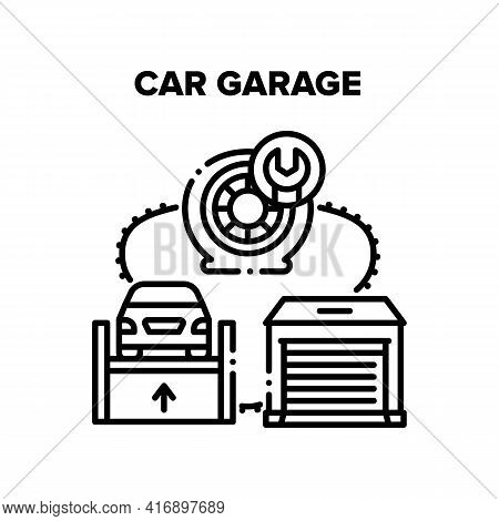 Car Garage Place Vector Icon Concept. Car Garage Place For Repair Wheel And Fixing Automobile On Hyd