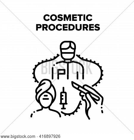 Cosmetic Beauty Procedures Vector Icon Concept. Cosmetic Beauty Procedures And Medical Surgery Opera