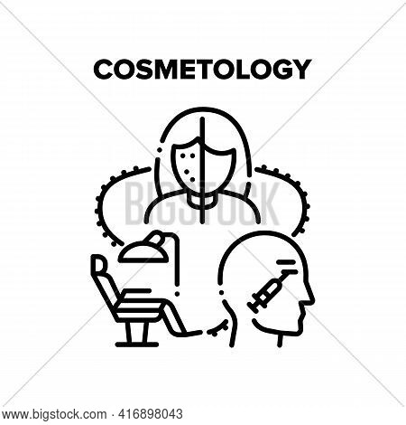 Cosmetology Vector Icon Concept. Professional Chair In Cosmetology Cabinet For Make Patient Face Cor