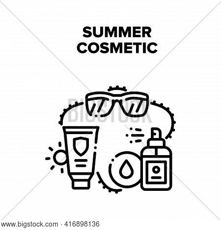 Summer Cosmetic Vector Icon Concept. Eyeglasses And Sunscreen Cream And Lotion Spray Summer Cosmetic