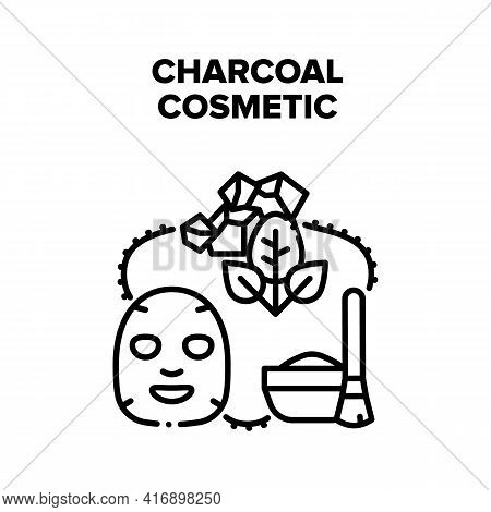 Charcoal Cosmetic Skincare Vector Icon Concept. Charcoal Cosmetic Skincare Product Facial Mask And N
