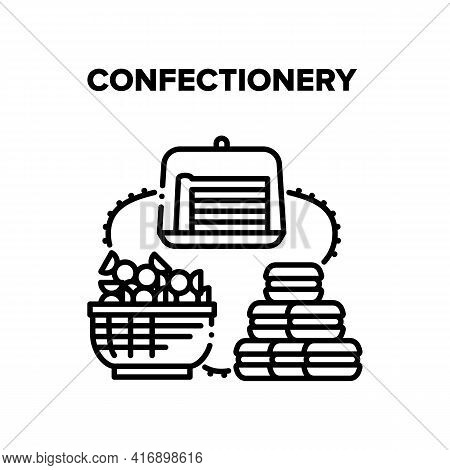 Confectionery Vector Icon Concept. Lollipop Candies Basket And Macaroons Cookies, Piece Of Pie Or Bi