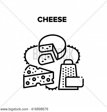 Cheese Food Vector Icon Concept. Delicious Cheese Gratering On Grater For Adding In Cooked Dish. Dai