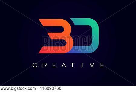 Bd Logo Letter Design With Modern Creative Concept And Orange Blue Colors Vector Illustration
