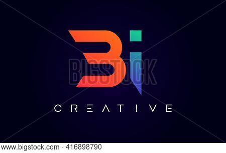 Bi Logo Letter Design With Modern Creative Concept And Orange Blue Colors Vector Illustration
