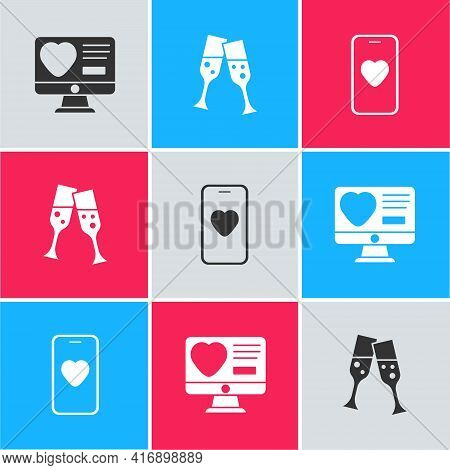 Set Dating App Online, Glass Of Champagne And Online Dating And Chat Icon. Vector