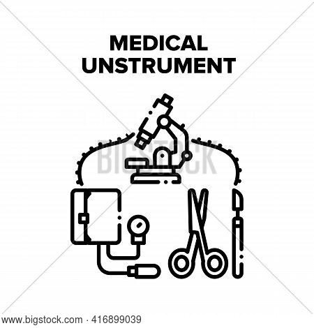 Medical Instrument Equipment Vector Icon Concept. Microscope Laboratory And Blood Pressure Measureme