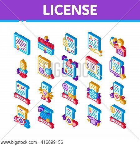 License Certificate Icons Set Vector. Isometric Pharmaceutical And Medical License, International Le