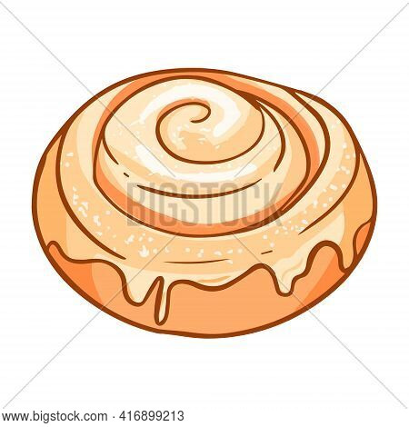 Cinnamon Rolls Wrapped In A Spiral With A Glazed White Filling. For Fast Food Menus