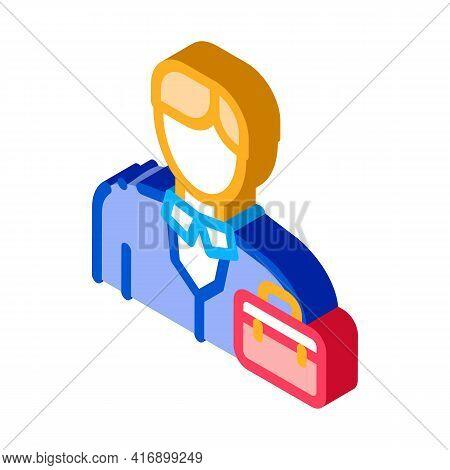 Businessman Employee Color Icon Vector. Isometric Businessman Employee Sign. Color Isolated Symbol I