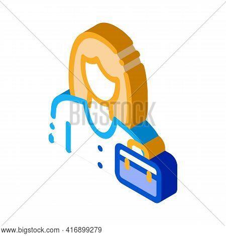 Businesswoman Employee Color Icon Vector. Isometric Businesswoman Employee Sign. Color Isolated Symb