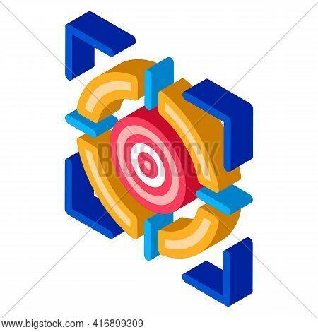 Target Achievement Administrator Color Icon Vector. Isometric Target Achievement Administrator Sign.