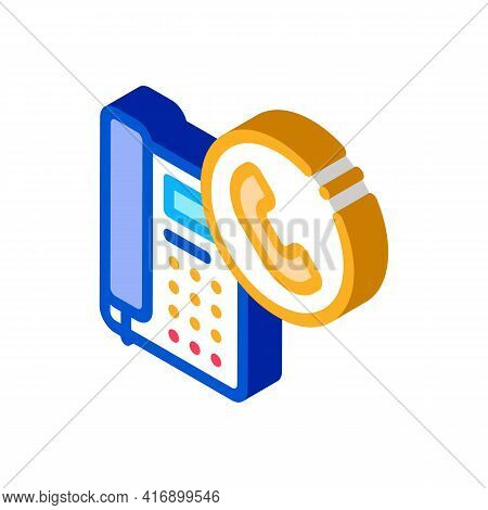 Receiving Calls Administrator Color Icon Vector. Isometric Receiving Calls Administrator Sign. Color