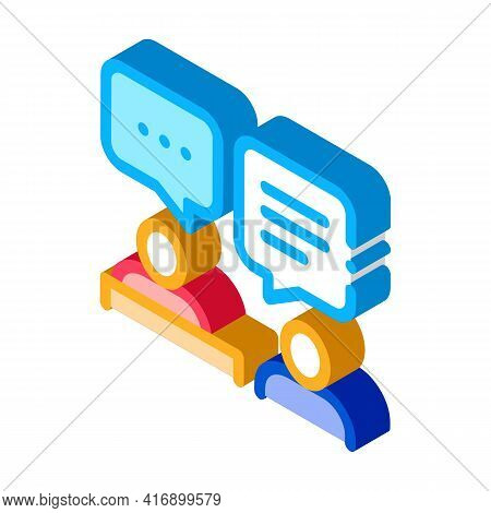 Interview Administrator Color Icon Vector. Isometric Interview Administrator Sign. Color Isolated Sy