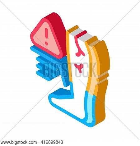 Cold Feet Due Atherosclerosis, Health Problem Color Icon Vector. Isometric Cold Feet Due Atheroscler