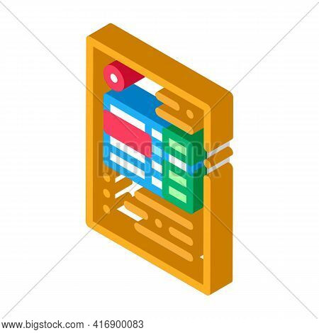 Document With Table Of Audit Credit And Debit Color Icon Vector. Isometric Document With Table Of Au
