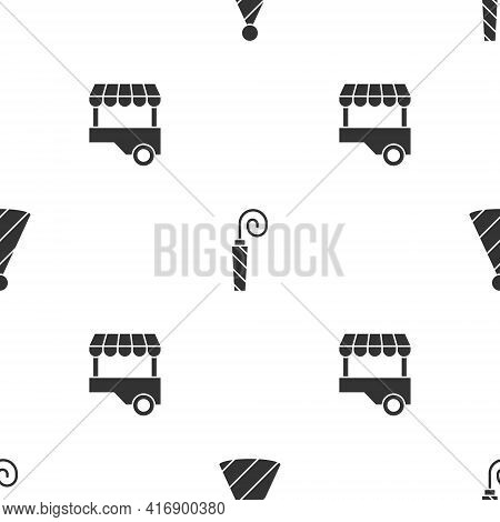 Set Party Hat, Birthday Party Horn And Fast Street Food Cart On Seamless Pattern. Vector